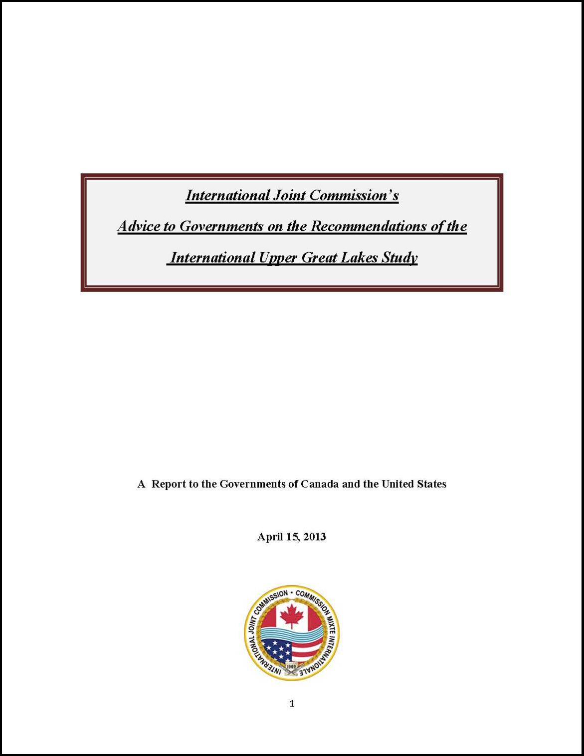 reports and publications international joint commission s advice to governments on the recommendations of the international upper great lakes study
