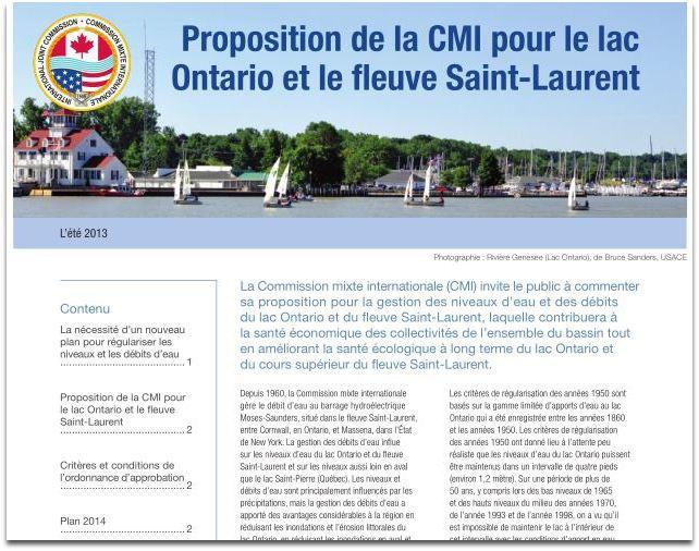 Proposition de la CMI pour le lac Ontario et le fleuve Saint-Laurent