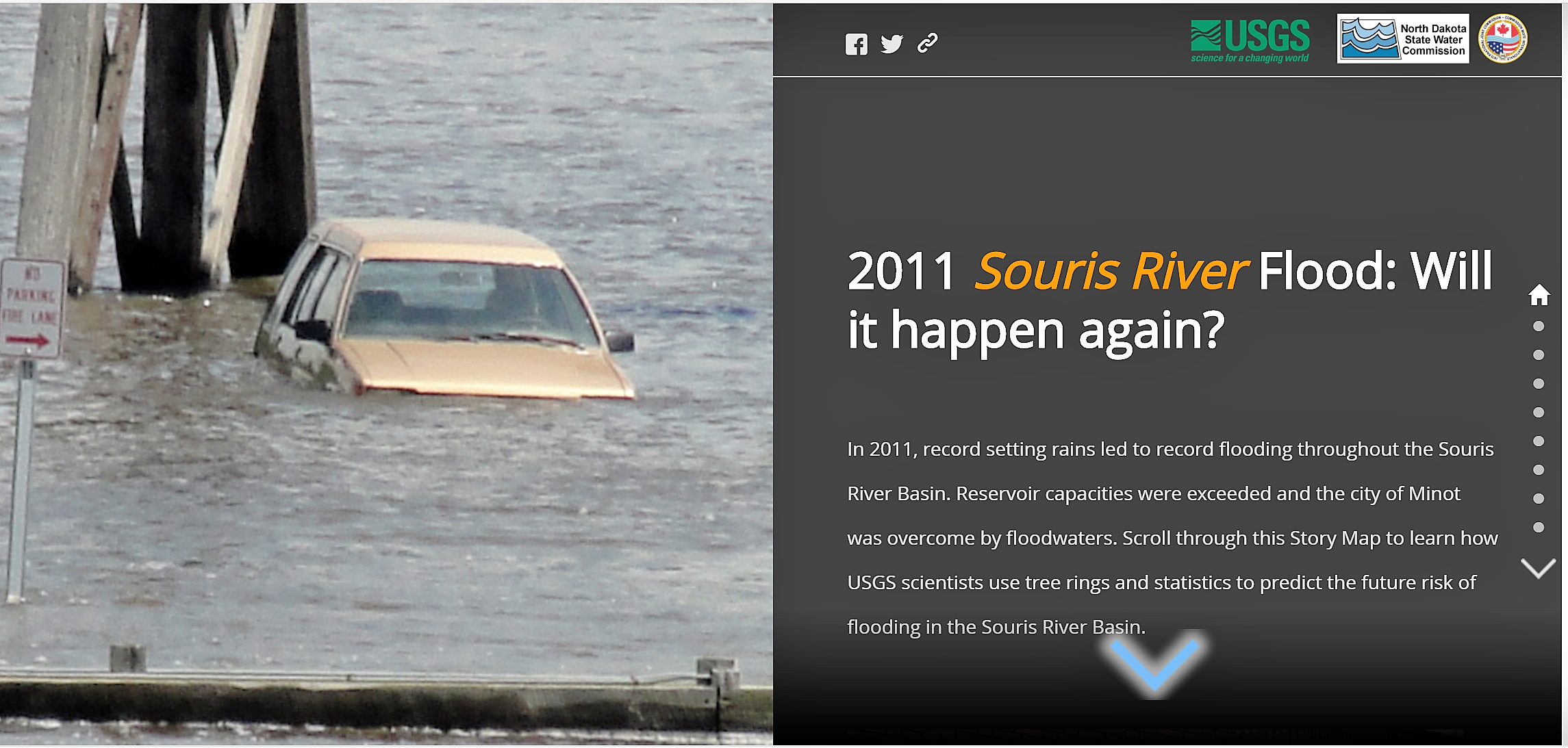 A screenshot of the application created to describe the causes, impacts and potential mitigation solutions of the 2011 Souris River flooding event. Credit: IJC