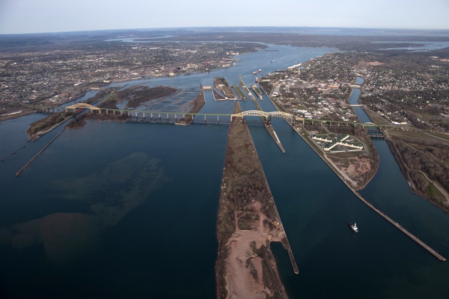 An aerial view showing the St. Marys River control structures. Credit: U.S. Army Corps of Engineers.