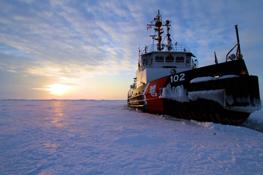 The Coast Guard Cutter Bristol Bay sits in the middle of Lake Erie as its crew takes ice liberty during a short break from ice breaking duties as part of Operation Coal Shovel, March 8, 2015. The crew of the Bristol Bay, along with the Canadian Coast Guard Ship Griffon, escorted the motor vessel Algoma Hansa through a frozen Lake Erie. Credit: U.S. Coast Guard photo by Chief Petty Officer Nick Gould