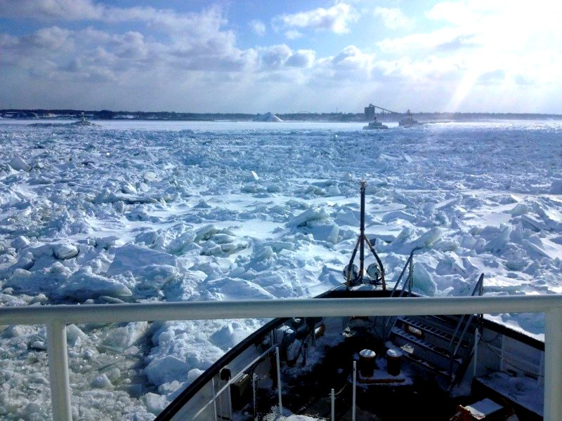 The crew of the Coast Guard Cutter Bristol Bay breaks ice outside of Ashtabula, Ohio, Feb. 19, 2015. The Bristol Bay encountered ice 8 to 10 feet in Lake Erie and brash ice, which is the jagged landscape, 5 to 6 feet thick. Credit: U.S. Coast Guard photo by Lt. Cmdr. John Henry