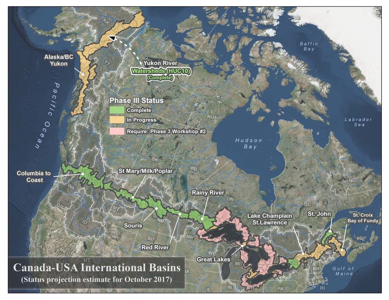 The Data Harmonization Task Force issued a status update on its projects across the transboundary during a presentation organized by the IJC in Ottawa in October 2017. Credit: US Geological Survey and Environment and Climate Change Canada