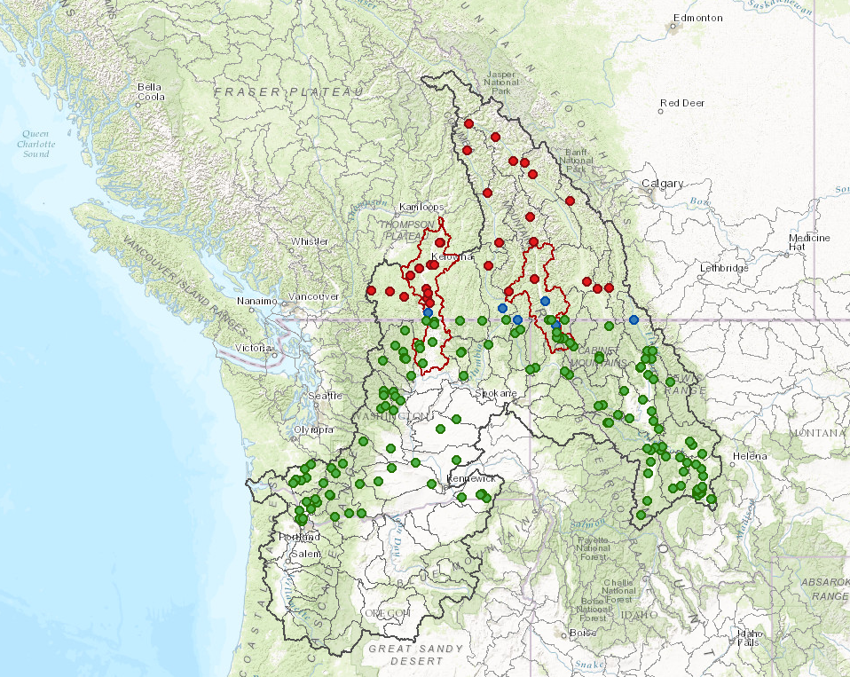 A map showing the distribution and density of gauging stations in the Columbia River Basin. Credit. IJC