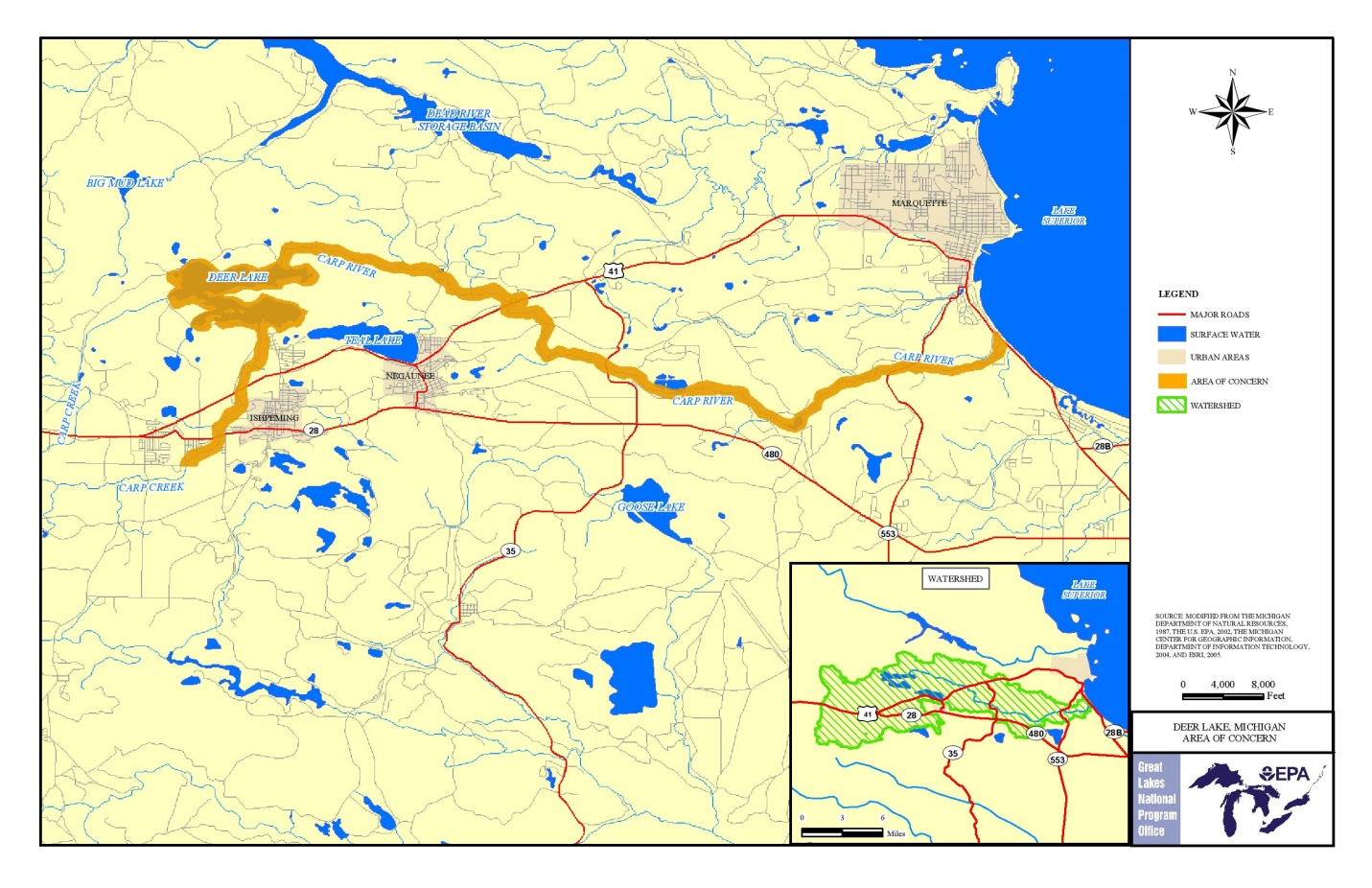 A boundary map of the Deer Lake Area of Concern. Credit: EPA.