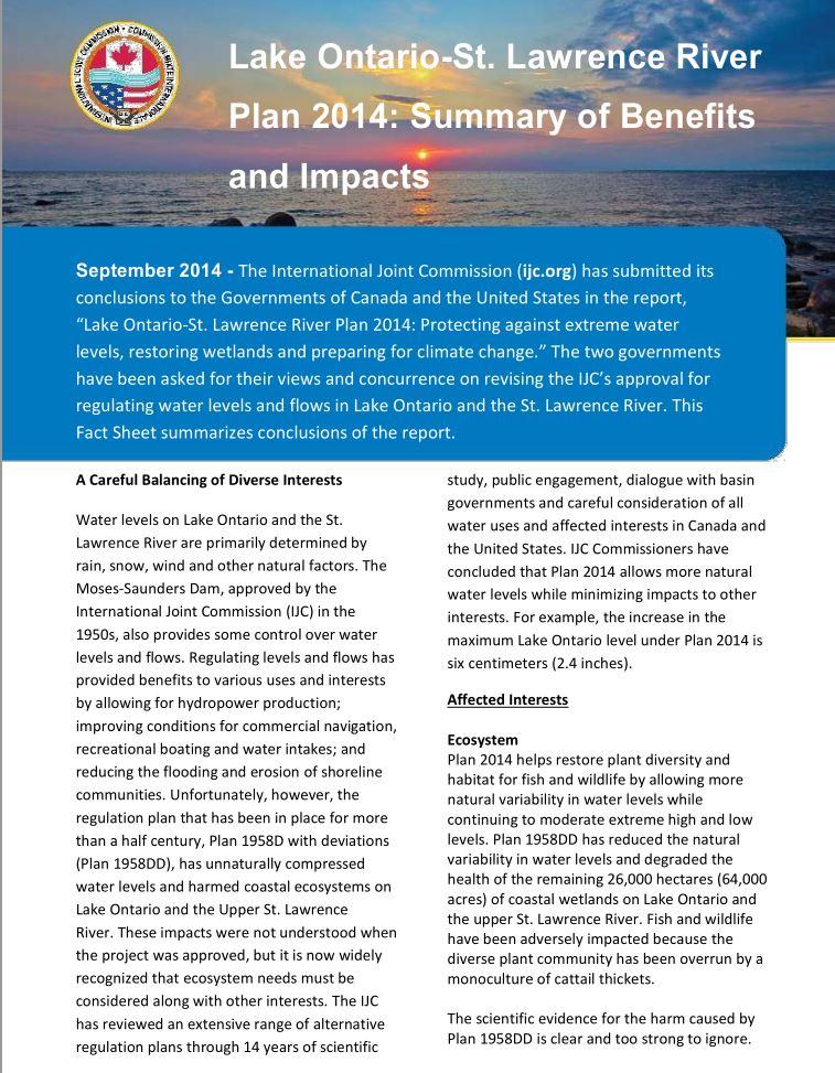 September 2014 Fact Sheet on Plan 2014