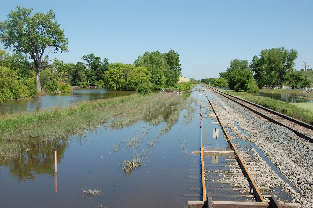 Flood waters recede from railroad tracks in Sawyer, North Dakota. Credit: Jeff DeZellar, St. Paul District US Army Corps of Engineers