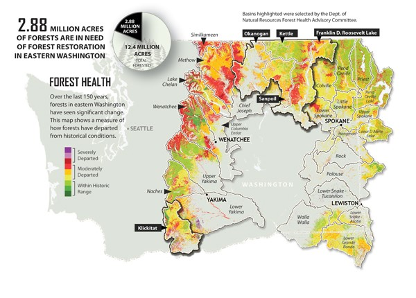 A graphic showing forests in need of treatment to reduce catastrophic fire risk, assessing the 'departure' of today's forests from historical conditions and defining the needs for ecological restoration. Credit:  Erica Simek Sloniker, The Nature Conservancy
