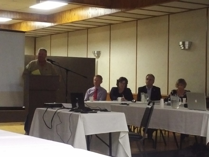 US rancher Leland Goodman comments at the public meeting of the Souris River Study Board in June 2018. Credit: IJC