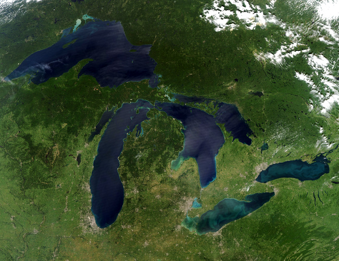 Satellite view of Great Lakes. August 2010. Via NASA.