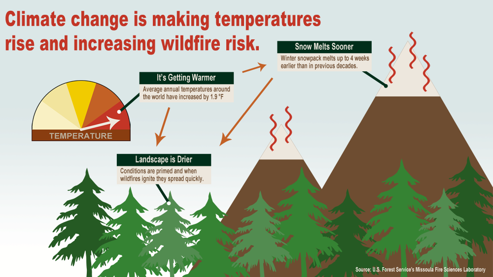 A graphic showing how increases in temperatures impact wildfire risk. Credit: US Forest Service Missoula Fire Sciences Laboratory