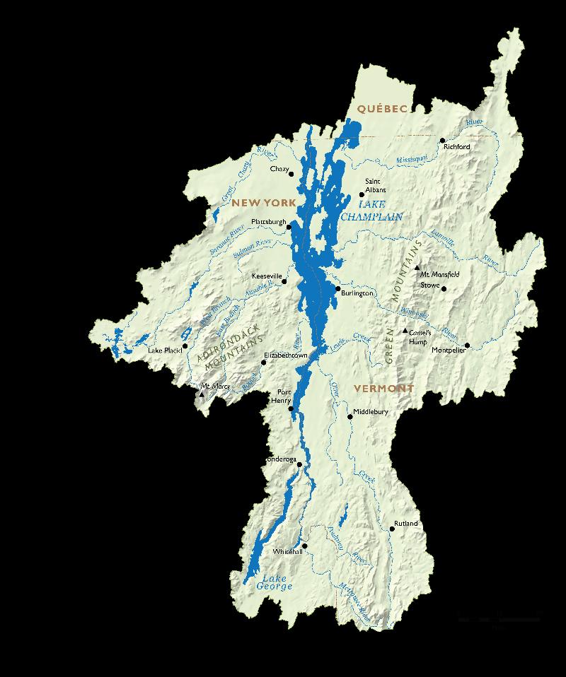 Le bassin du lac Champlain comprend 587 milles (945 kilomètres) de littoral. Crédit : PMVBPLC