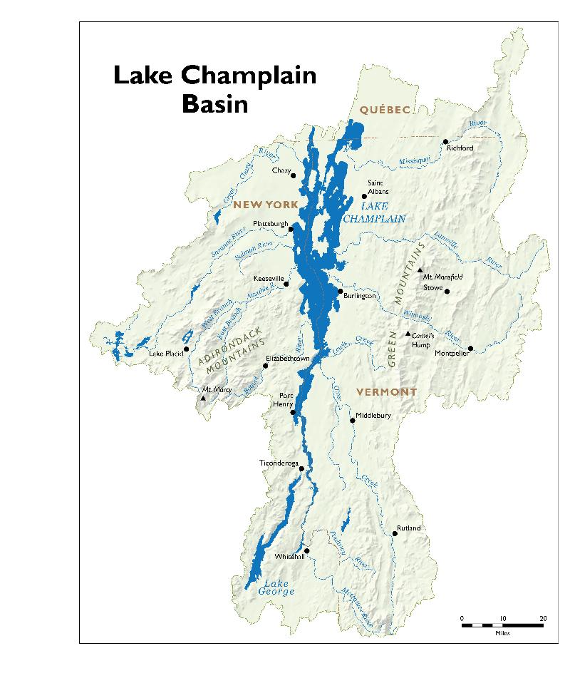 The Lake Champlain basin includes 587 miles (945 kilometers) of shoreline. Credit: LCBP