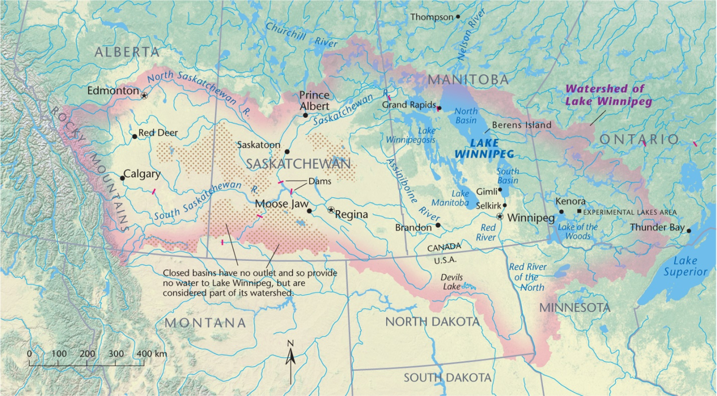 The Lake Winnipeg watershed. Credit: Canadian Geographic Enterprises.