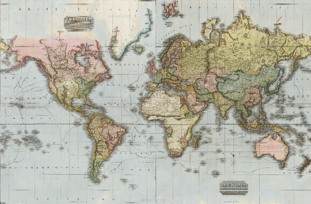 A map of the world in the 1800s. Credit: National Geographic, Esri, DeLorme, HERE, UNEP-WCMC, USGS, NASA, ESA, METI, NRCAN, GEBCO, NOAA, P Corp.