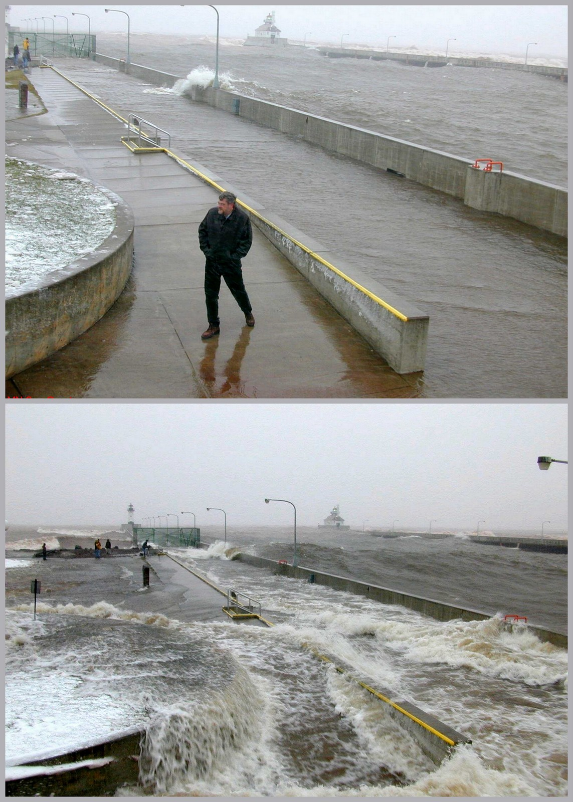 Top and above: A seiche that hit Canal Park in Duluth, Minnesota, in 2002. Credit: Minnesota Sea Grant.