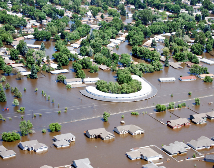 Minot, N.D., was flooded by the Souris River in June 2011. Credit: U.S. Army Corps of Engineers/Clay Church.