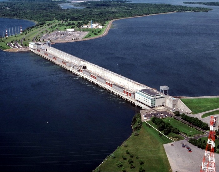 The Moses-Saunders hydropower dam, located on the St. Lawrence River between Cornwall, Ontario, and Massena, New York.
