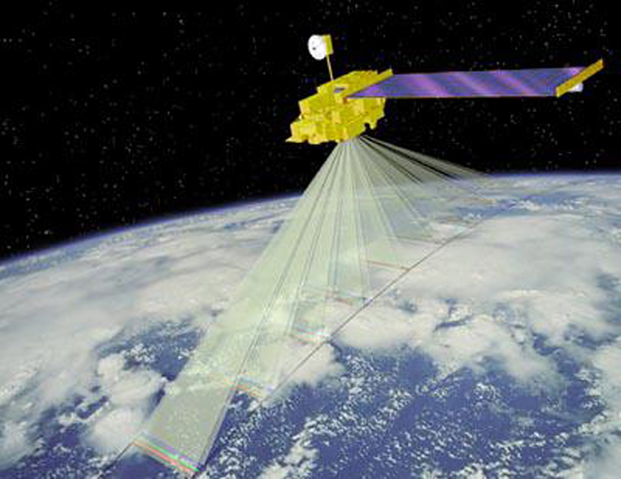 NASA has satellites like Terra (shown above in an artist's concept) which can measure dust on snow packs, estimating the energy absorbed by the snowpack. These satellites may allow for more accurate forecasts for predicting snowpack runoff. Credit: NASA.