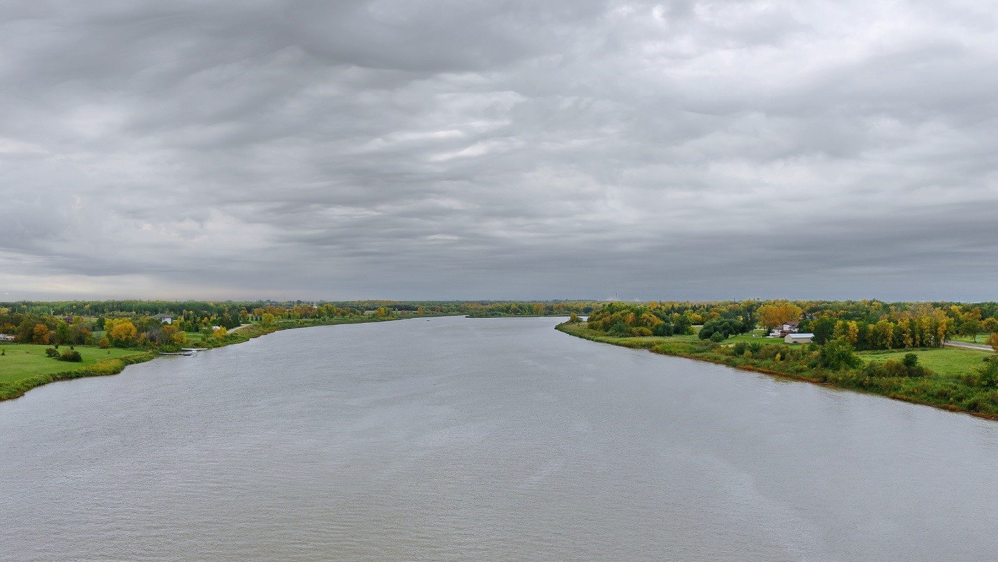 The Red River, seen here near Selkirk, Manitoba, has several water quality issues within its basin that agencies hope to address. The story map can help them see how bad these issues are throughout the area. Credit: Robert Linsdell