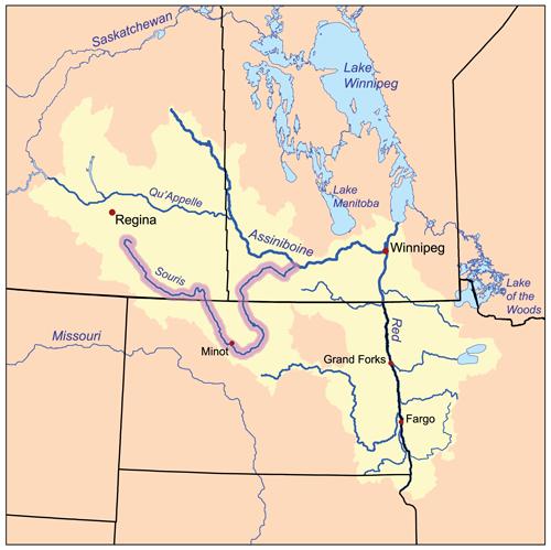 La rivière Souris prend sa source en Saskatchewan et s'écoule au Dakota du Nord et au Manitoba. Mention de source : Karl Musser