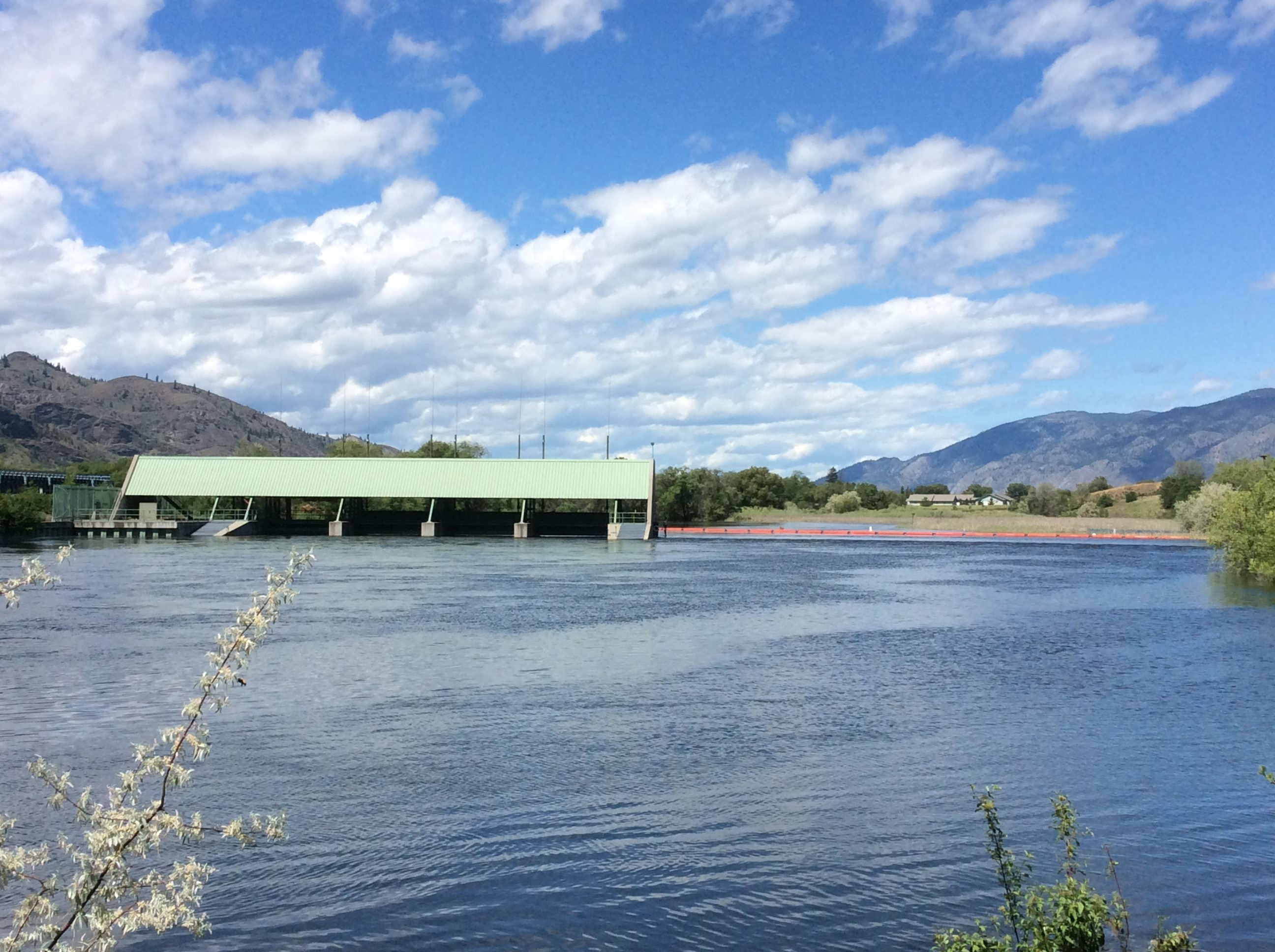 The spillway of Zosel Dam was inundated during floods in the Osoyoos Lake system in May and June, with water flowing over the top of it. Credit: Brian Symonds