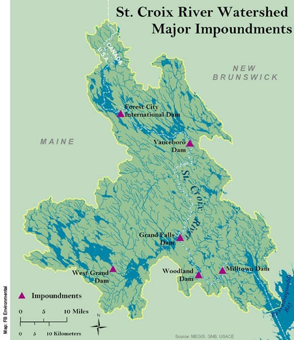 A map of the St. Croix River and dam locations from a 2008 IJC report.