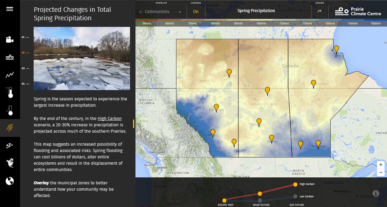 Users can click on a city or town to see how seasonal precipitation totals are expected to change in the coming decades under the high and low carbon scenarios. Credit: Prairie Climate Atlas