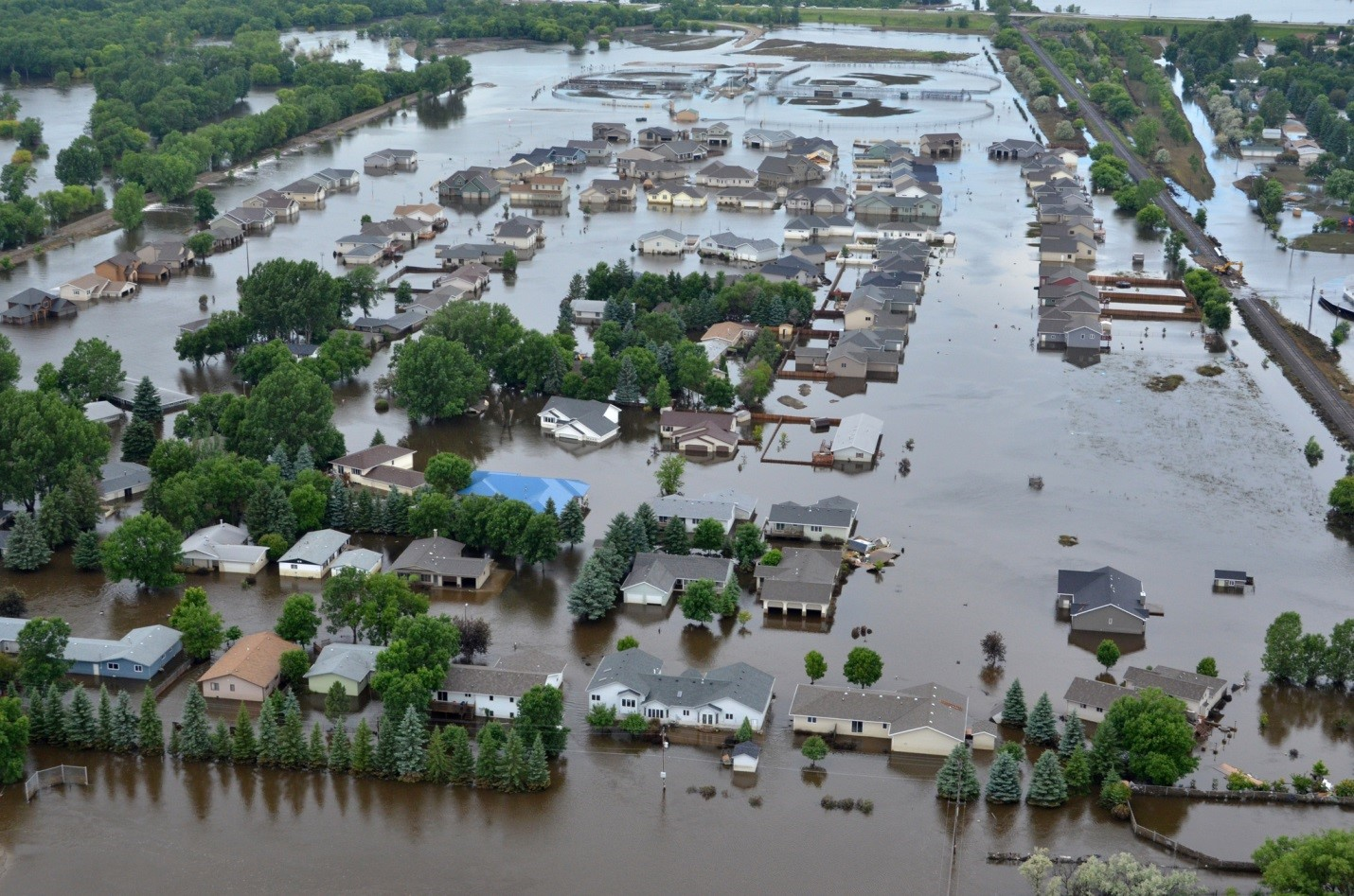 A view of Minot, North Dakota, in the midst of the biggest flood on record in the Souris River, taken on July 6, 2011. Credit: FEMA